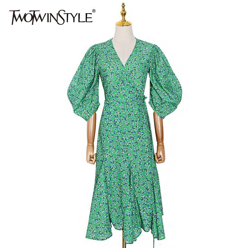 TWOTWINSTYLE Print Hit Color Elegant Dress For Women V Neck Puff Sleeve Ruched Irregular Hem Dresses Female 2020 Summer New Tide