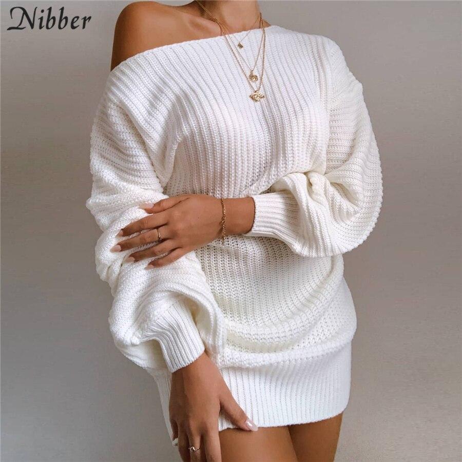 Nibber Elegante College Stil gestrickte Pullover Kleider Für Frauen Herbst Winter Lose Off Liebsten Weihnachten Party Kleider Weibliche