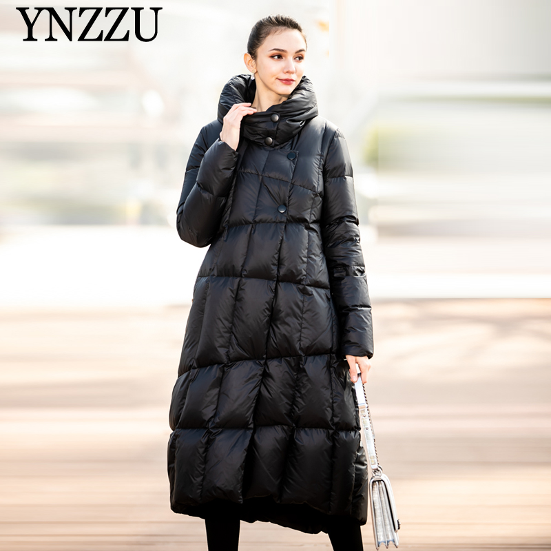 Black Women Oversized Long Down Jackets 2019 Winter Hooded Elegant Plus Size Female Outwear Thick Warm Down Coat YNZZU 9O051