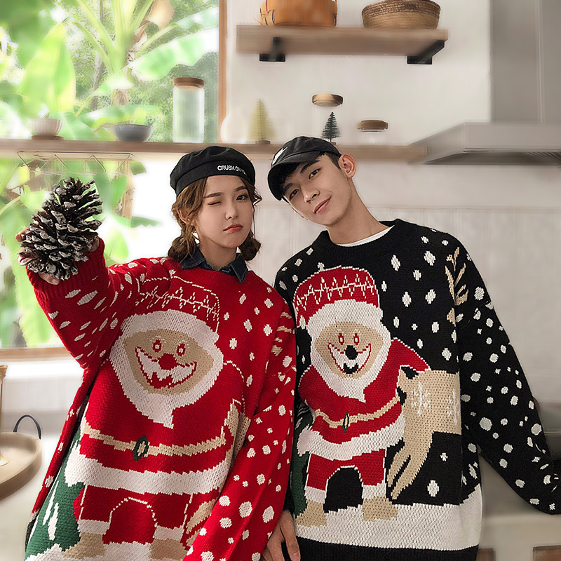 Christmas Knitted Sweater Men/Women Winter 2019 Autumn Red Christmas Sweaters Couple Pullover Long Sleeve Men Warm Fashion New