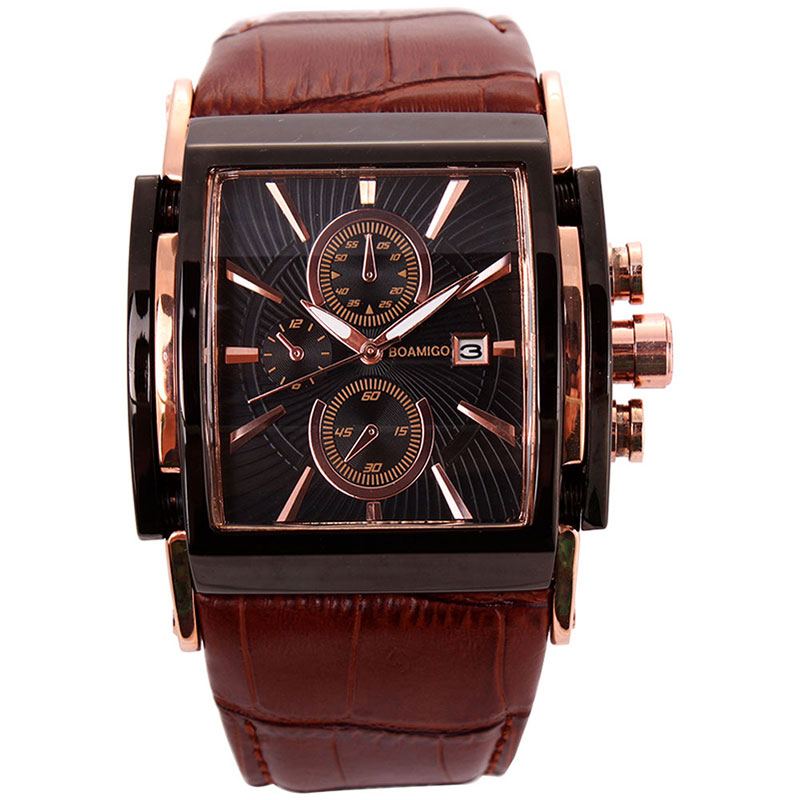 Image 3 - BOAMIGO men quartz watches brow leather strap auto date clock male fashion casual analog big man wristwatches relogio masculino-in Quartz Watches from Watches