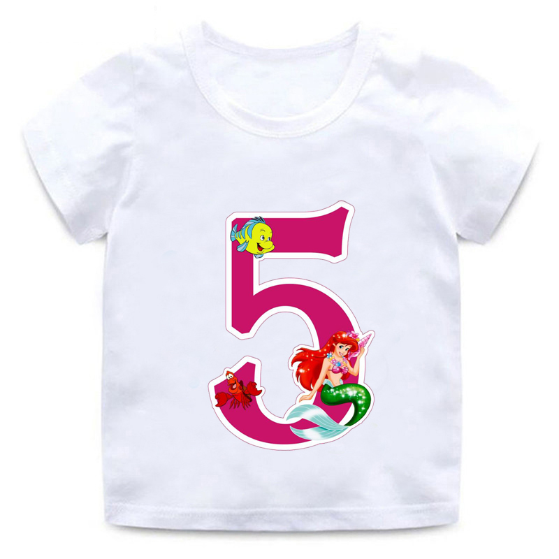 2019 new children cartoon princess best birthday gift number funny white T-shirt fish clothes boy girl round neck T-shirt,BAL568 image