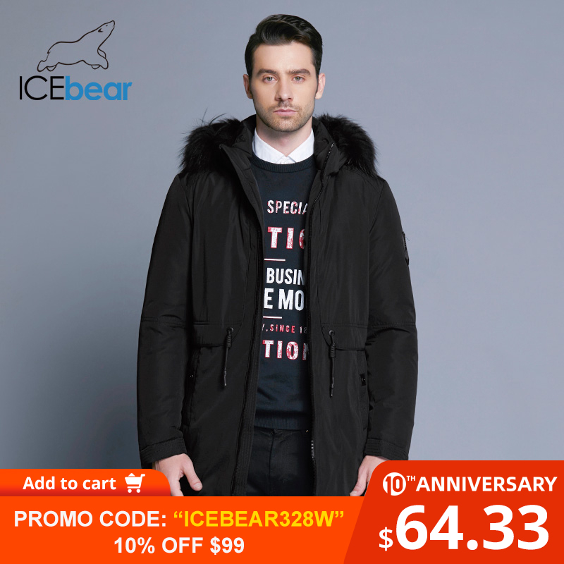 ICEbear 2019 Winter Jacket Men Placket Zipper Adjustable Waistband Soft Comfortable Fur Collar Winter Cotton Clothes 17MD941D