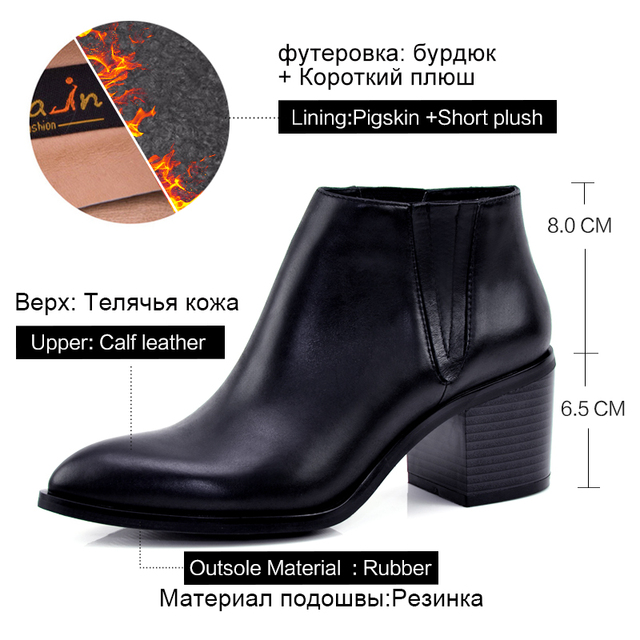 Donna in Clearance women leather boot genuine leather ladies shoes pointed toe high heel ankle boots