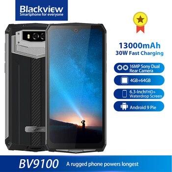 Перейти на Алиэкспресс и купить Blackview BV9100 IP68 13000 мАч прочный смартфон 6,3 дюймFHD + 4 Гб 64 Гб Helio P35 Восьмиядерный Android9.0 30 Вт Быстрая зарядка мобильного телефона