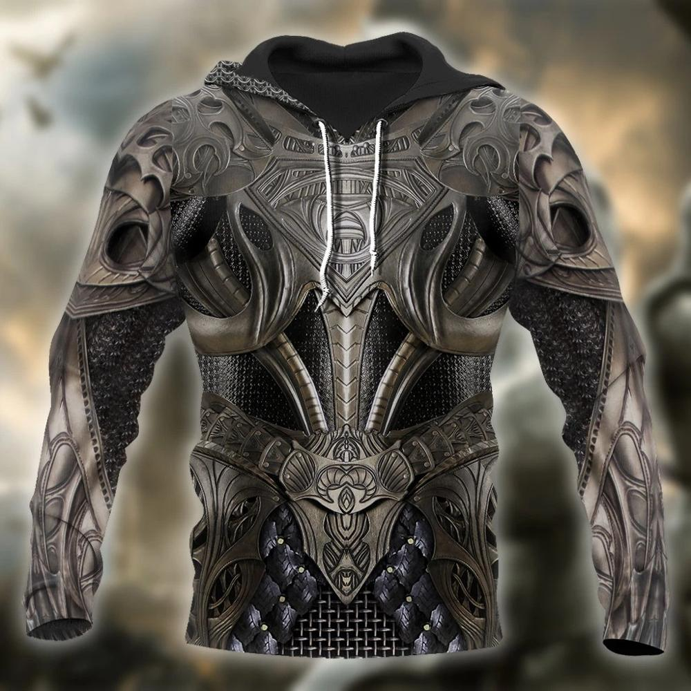 3D Printed Knight Medieval Armor Men Hoodies Knights Templar Harajuku Fashion Hooded Sweatshirt Unisex Casual Jacket Hoodie QS22