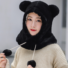 HT2713 Cute Bear Shaped Winter Accessories Hat Scarf Set Lady Soft Fleece Earflap Cap Windproof with Women