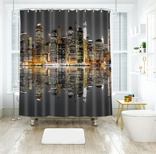 3d Waterfront City Pattern Brilliant Architecture Shower Curtains Waterproof Thickened Bath for Bathroom Customizable