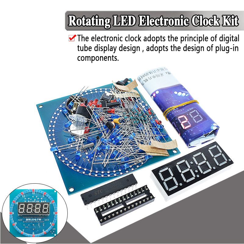 DS1302 Rotating LED Display Alarm Electronic Clock Module DIY KIT LED Temperature Display