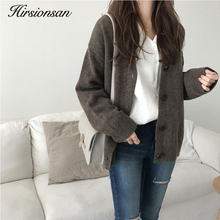 Hirsionsan Cardigans Sweater Women Solid Color Harajuku Lazy Basic Knitted Full sleeve Button Tops Female Oversized Outwear