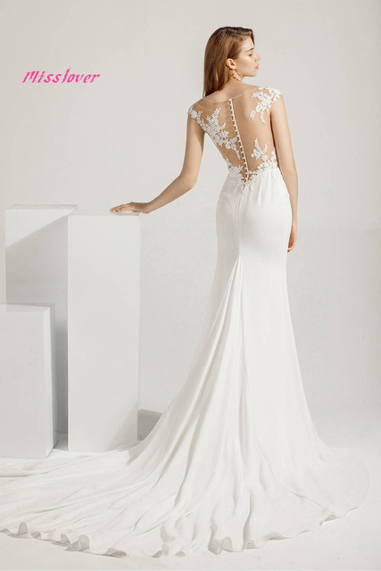 Simlple Soft Satin Vestido de noiva lace Mermaid Bride Wedding Dress 2021 new Bridal Gown Boat Neck Court Train Robe de mariee 5