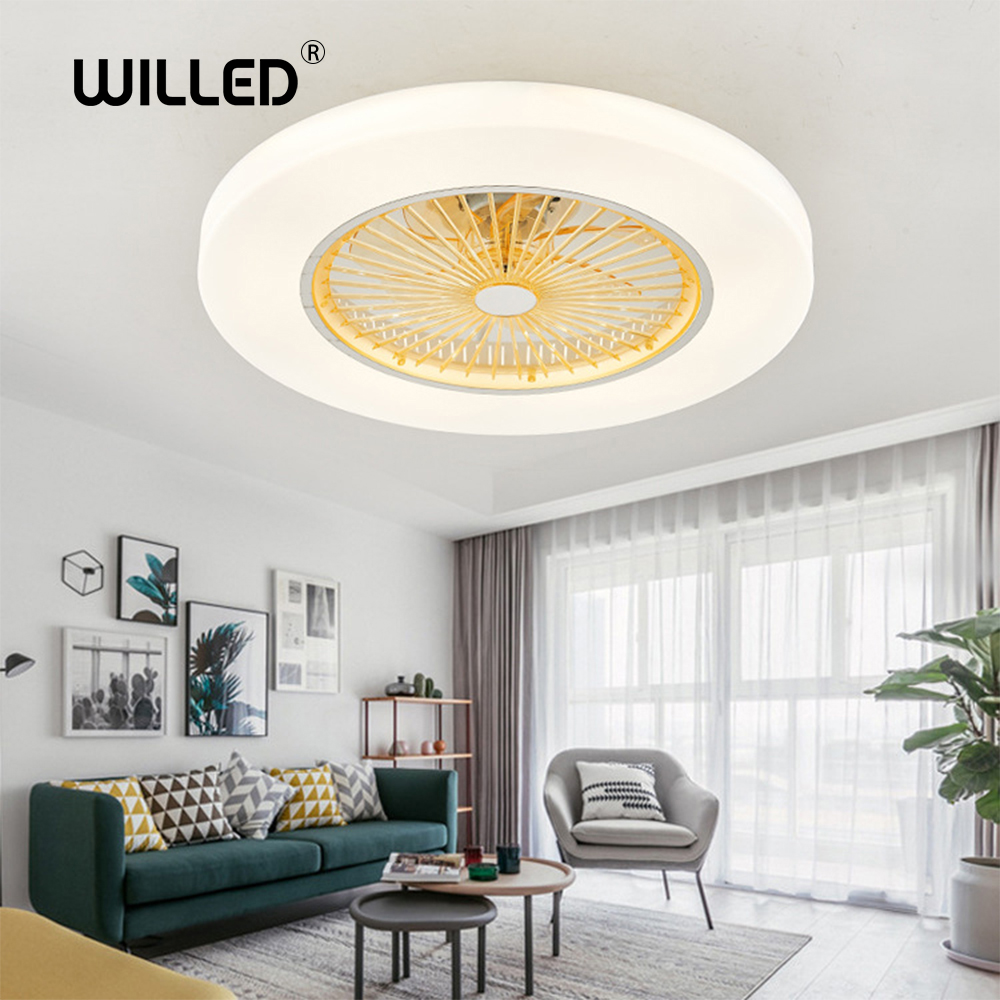 LED dimming remote control ceiling Fans lamp Invisible Leaves 58cm Modern simple home decoration Luminaire
