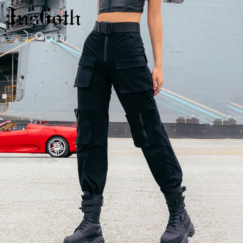 InsGoth Streetwear Cargo Pants Women Casual Joggers Black High Waist Loose Female Long Trousers Harajuku Fashion Pants Lady Pant