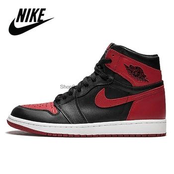 Retro Nike Air Jordan 1 czarny wysoki OG sąd piłka do koszykówki dla mężczyzn trampki oryginalne kobiety Nike Air Jordan 1 YSAJ188 #02 tanie i dobre opinie CN (pochodzenie) Średnie (b m) Wysokiej RUBBER Syntetyczny BQ6472 Lace-up Spring2017 Pasuje prawda na wymiar weź swój normalny rozmiar