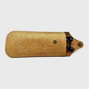 Image 4 - Cubojue cuir véritable, fait à la main, de marque, avec boîte à sangle, pour montures de lunettes, petit bouton de lunettes de soleil, étui à lunettes (53g)