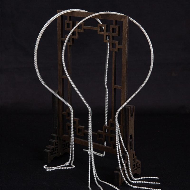 Купить модные висячие серьги стразы с имитацией кисточек повязка для