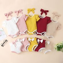 Toddler Baby Girl Clothes Set Summer Short Sleeve Bodysuits Bow Shorts Headband 3Pcs Knitted Outfits New Born Infant Clothing