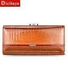 DICIHAYA Trend cüzdan kadın kadın cüzdan uzun cüzdan yüksek kaliteli bozuk para cüzdanı kadın düğme çanta hakiki deri fermuar cüzdan