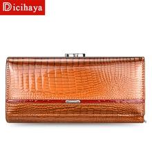 Dicihaya tendência carteira feminina carteira longa carteira de alta qualidade bolsa de moedas botão de couro genuíno com zíper carteiras