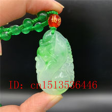 Chinese Green Jadeite Ruyi Jade Pendant Necklace Charm Jewellery Fashion Lucky Amulet Gifts for Women Men Sweater Chain(China)
