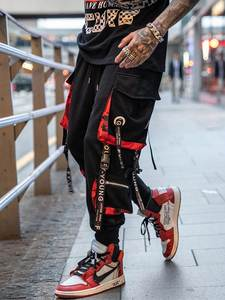Cargo-Pants Trousers Block Pocket-Track-Pants Ribbons Joggers Letter Hit-Color Hip-Hop