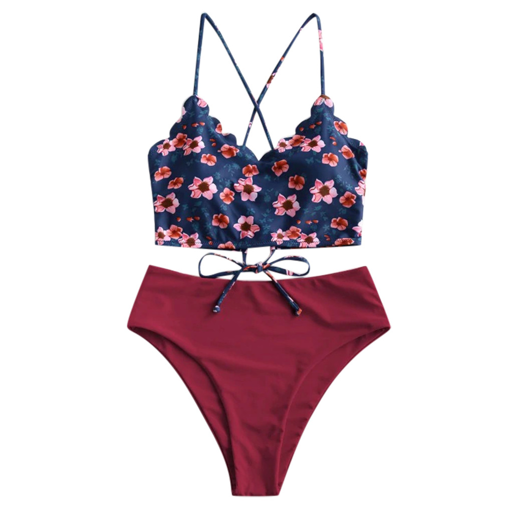 2020 Fashion Floral Printing Bathing Suit For Lady Women Sexy Crosstie Biquini Split Underwear Set Push Up Padded Ropa De Playa