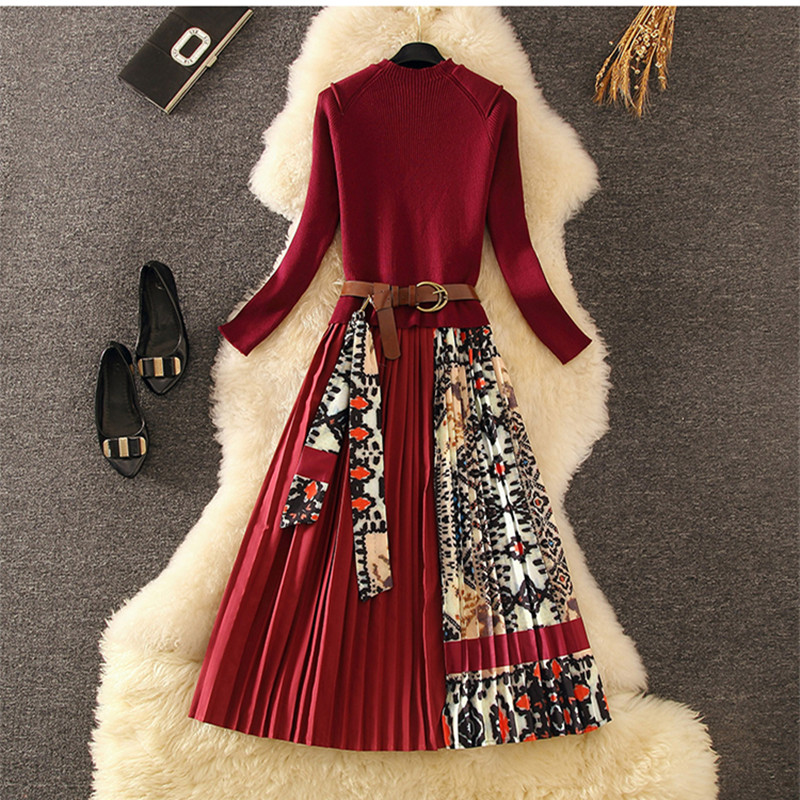 Elegant Knitted Patchwork Pleated Midi Dress 2019 Fall Winter Fashion Women Long Sleeve Ethnic Retro Printing Pleated Dress