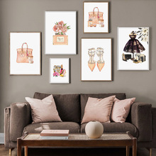 Fashion Paris Perfume High Heels Handbag Wall Art Canvas Painting Nordic Posters and Prints Pictures for Living Room Decor