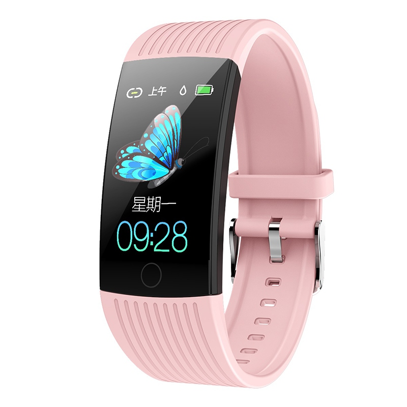 Фитнес-трекер монитор артериального давления Браслет Водонепроницаемый сенсорный экран ультра-тонкий смарт-часы браслет для iOS Android - Цвет: Pink