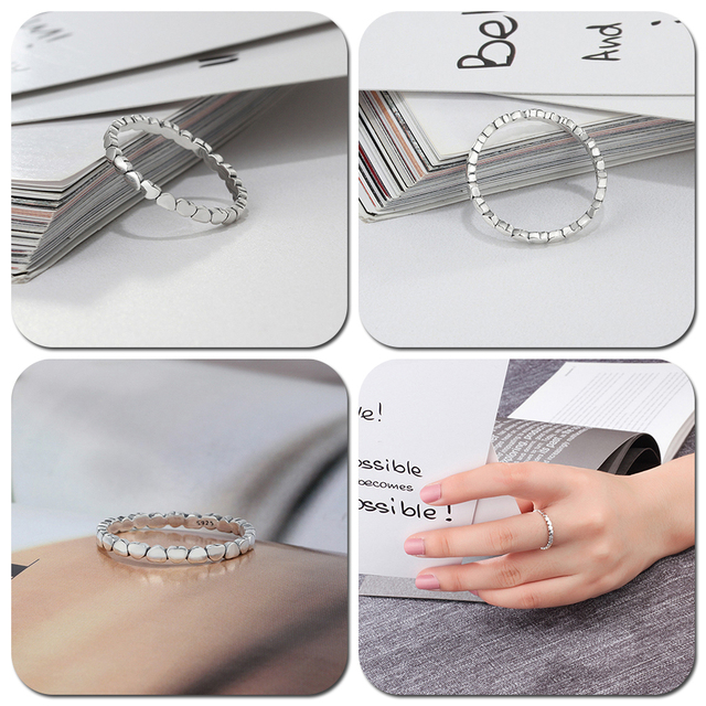 LicLiz 2019 Simple 925 Sterling Silver V Shape Rings for Women Heart Star Leaf Braided Band Silver Jewelry Joyas de Plata LR0470 2