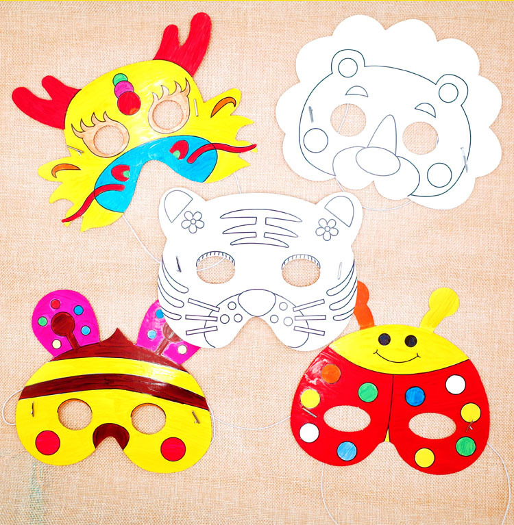 1PC Cartoon Animal Paper Painting Mask Graffiti DIY Art Crafts Kindergarten Kids Toy Intelligence Developmental Toys