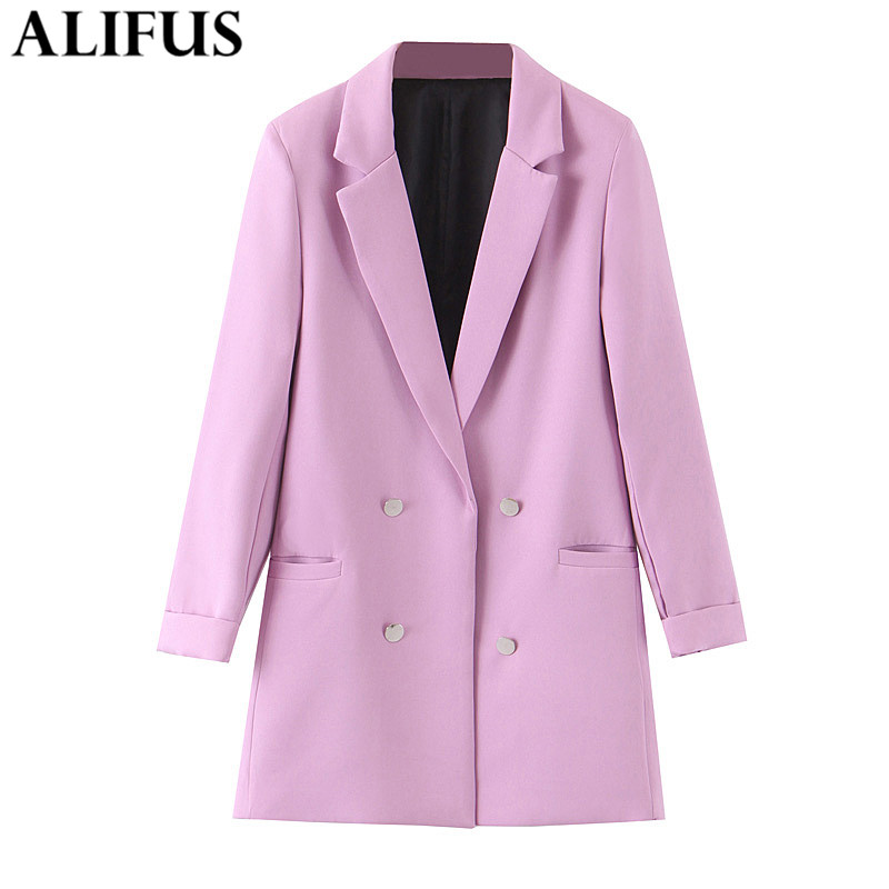 Fashion Za Women 2019 Stylish Violet Purple Office Lady Blazer Coat Double Breasted Long Sleeve Pockets Ladies Chic Tops