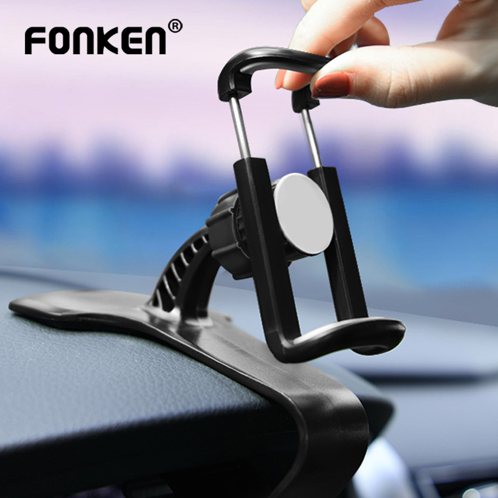 FONKEN Car Phone Holder Charger Support Adjustable Mobile Phone Stand In Car Dashboard Cellphone Clips Mount For Iphone Samsung