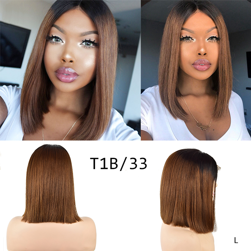 DreamDiana Ombre Bob Human Hair Lace Front Wig 150 Density 13x4 Ombre Straight Human Hair Wig Glueless Remy Brazilian Hair Wig L