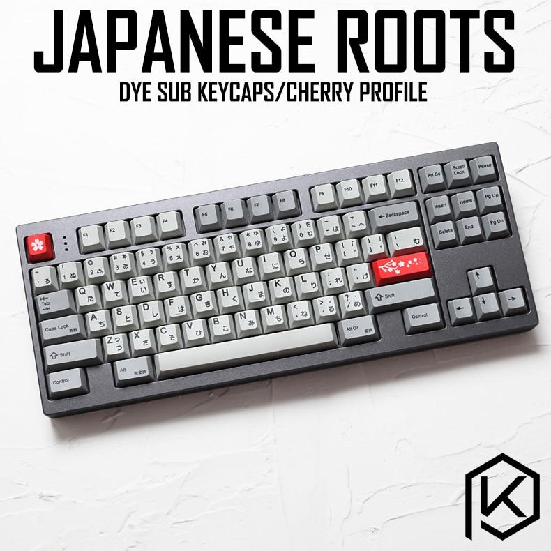 Kprepublic 139 Japanese Root Japan Black Font Language Cherry Profile Dye Sub Keycap PBT For Gh60 Xd60 Xd84 Cospad Tada68 87 104