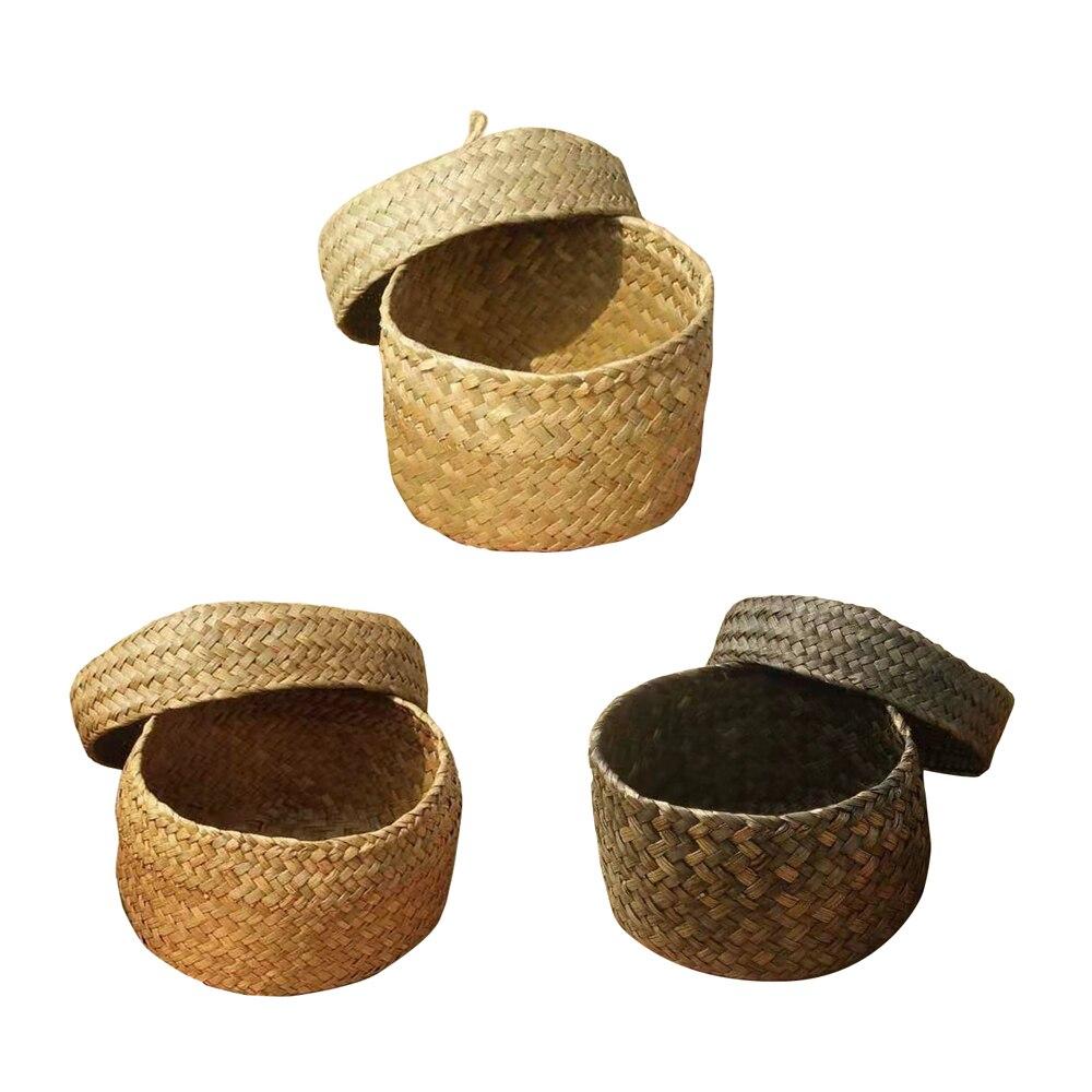 Willow Straw Storage Basket With Lid Round Desktop Storage Organizer For Snack Small Toys 1pcs