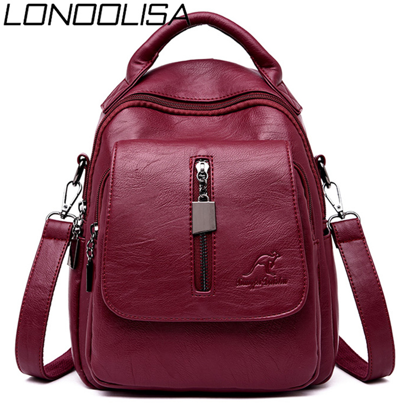 3-in-1 Soft Leather Women Backpack Casual Solid School Bags For Teenage Girls Travel Backpack Ladies Bagpack Mochila Feminina
