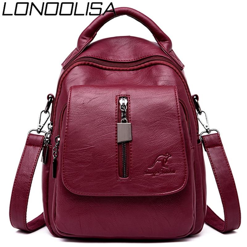 Fashion 3-in-1 Soft Leather Women Backpack Casual Solid School Bags For Teenage Girls Bagpack Sac A Dos Mochila Feminina