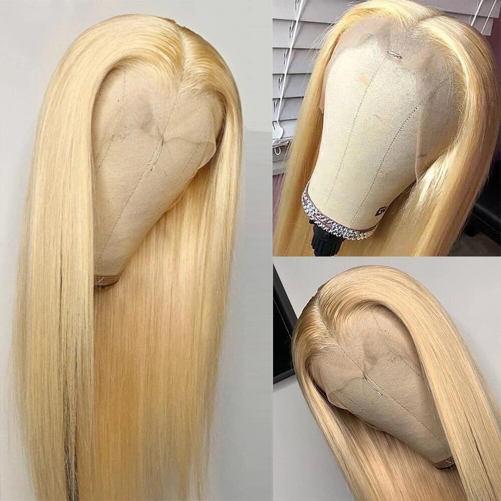 Парик Abijale 613 блонд на сетке спереди, бразильские прямые парики на сетке спереди из человеческих волос, предварительно выщипанные 13x4Lace Remy, пл...
