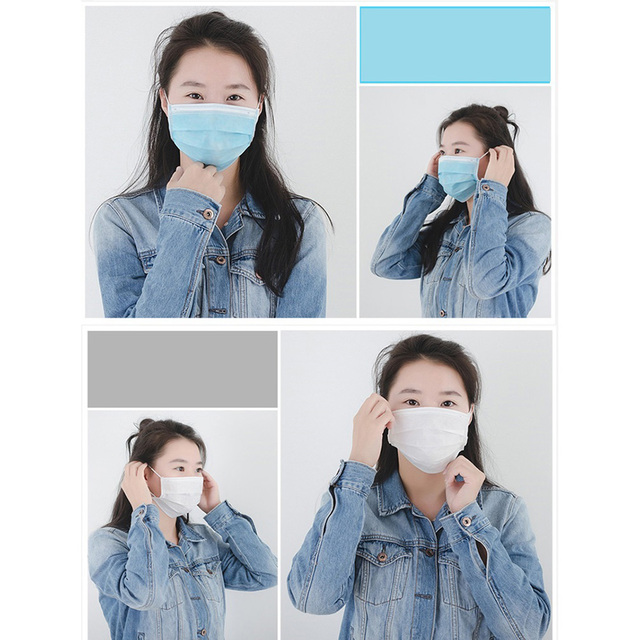 50pcs In stock Medical Surgical Disposable Mask Protective Anti Dust Fog Bacteria Flu Proof Non-woven Three-layer Mounth Masks 4
