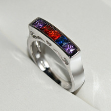 цена на Colorful Zircon Stone Cute Silver Rings for Women Wedding Engagement Fashion Jewelry 2019 New