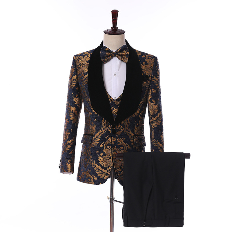 Jacquard Floral Casual Men Suits For Wedding Evening Party 3 Piece Male Blazer Man Set Jacket Pants Waistcoat Latest Style