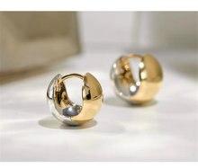 18k sólido amarelo real ouro jóias (au750) feminino designer bola espelho pequeno holden bola orelha fivela de metal bola dois brincos banda