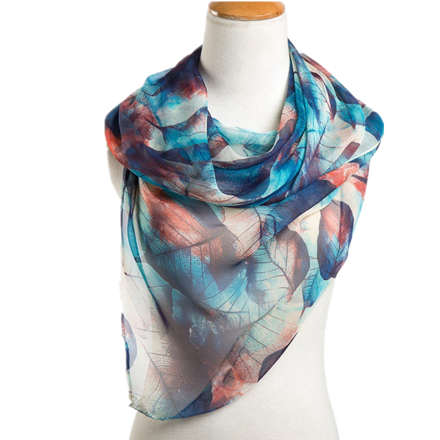 2020 New Hot Sale Scarves Women High Quality Georgette Wraps And Shawl Lady Fashion Leaf Print Hijab Stoles Scarf Wholesal