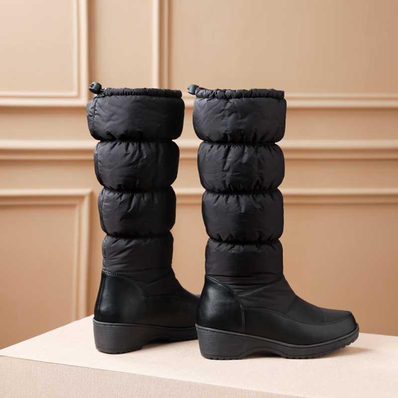 REAVE KEDI Artı boyutu 35-44 Yeni 2019 Moda kadın çizmeler sıcak tutmak aşağı kar botları kalın kürk orta buzağı kışlık botlar boyutu 35-44 beyaz