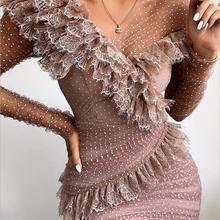 Women Luxury Sexy Long Sleeve Lace Ruffles Women Winter Dress 2020 Designer Fash