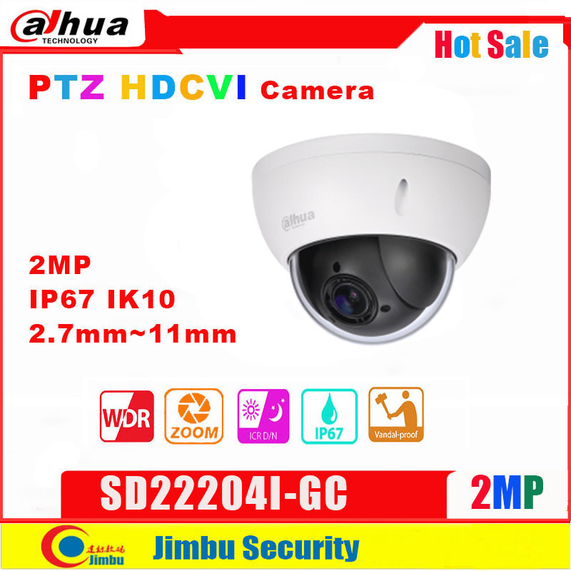 DAHUA 2MP 4x PTZ HDCVI Camera   SD22204I-GC    2.7mm~11mm  Motorized Lens Waterproof   IP67, IK10 Max. 25/30fps