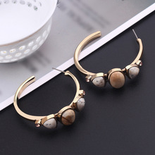 Vintage Natural Stone Round Hoop Earrings for Women Retro Glass Crystal C Shape Circle Statement Earrings 2020 Fashion Jewelry women earrings retro simple round geometry shape engraving natural stone turquoised earrings features texture stone earrings