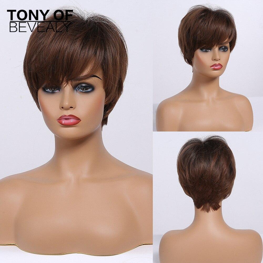 Perucas curtas de cabelo sintético, ombré, castanho, com franja, para mulheres negras, diário, cosplay, resistente ao calor natural