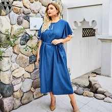 Womail Plus Size Blue Flare Sleeve Dress Women's Short Sleeve Casual Dress O-neck Tie Bow Mid-Calf High Waist Women Party Dress(China)